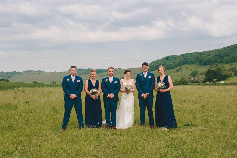 bridal party group shot, long furlong barn
