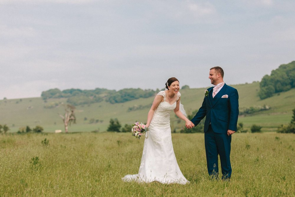 countryside wedding ideas, relaxed bride and groom portrait shot