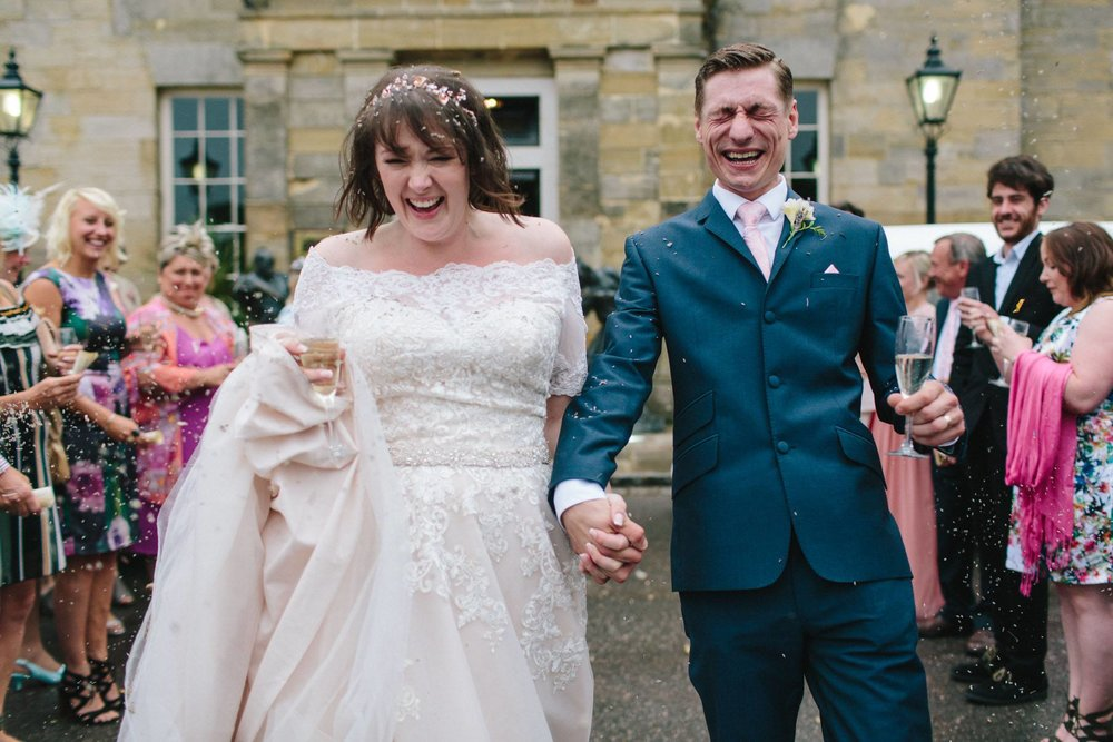 bride and groom, confetti, stanmer house, wedding photographers