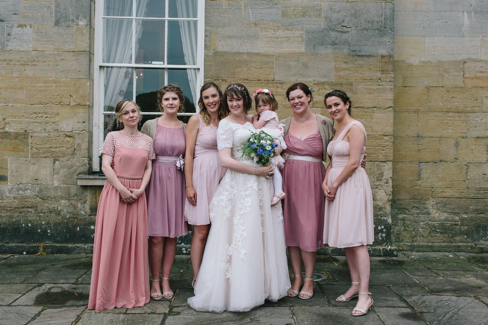 pink bridemaids dresses, stanmer house wedding