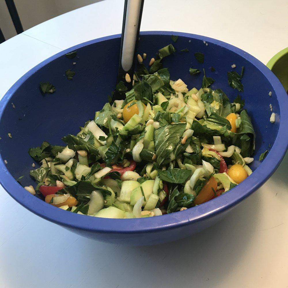Saucy Bok Choy Salad w/ Pine Nuts