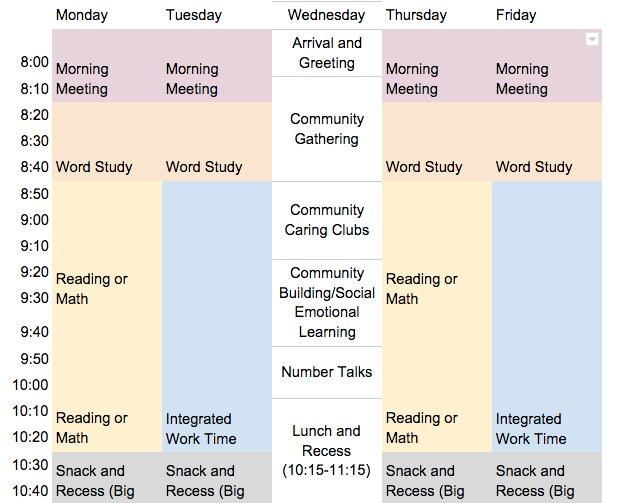 Sample Weekly Schedule — Compass Charter School