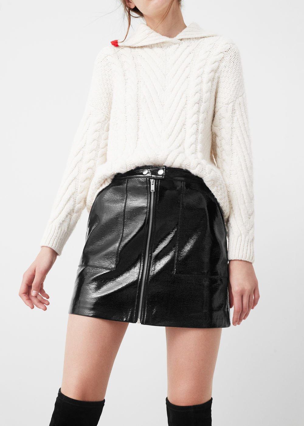 Everyone needs a good [faux] leather skirt. And   this one  , while it's black, has nice detailing added that makes it not-so-boring.