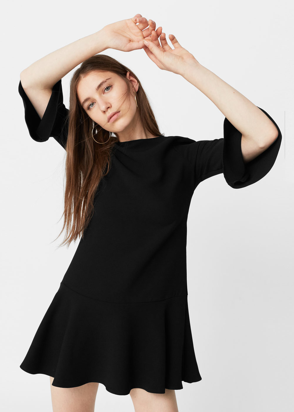 Ok so I'm kind of obsessed with the fit of   this dress   and the ruffles of the flared sleeve and bottom. This would be great for work or going out.