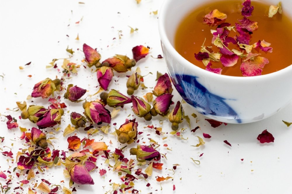 Herbal tea with rosebuds