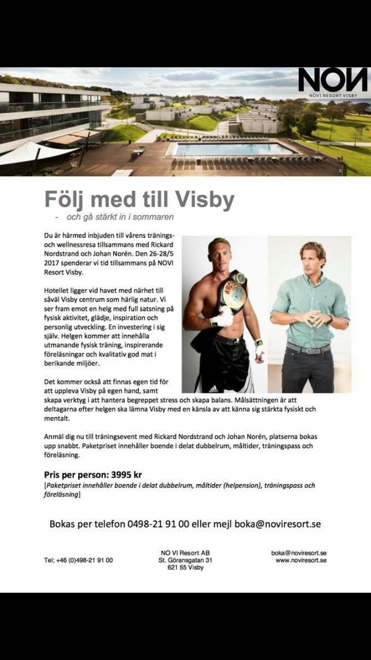 Den 26-28/5 kör vi en träningshelg på denna fina och unika anläggningen på Gotland. Ta dig tid att varvar ner innan semester med oss. Det kommer bli mycket träning föreläsning hur man ska hantera stress i vardagen. Sen blir det förstås trevliga middagar med tid att umgås och njuta.  Kram på er hoppas vi ses på Ön
