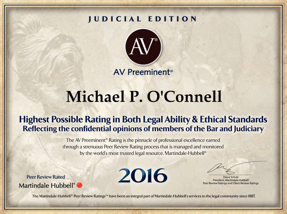 An AV Preeminent Rating is one of the highest professional honors that an attorney can receive. Michael earned this designation through a strenuous peer review ratings process in 2016.