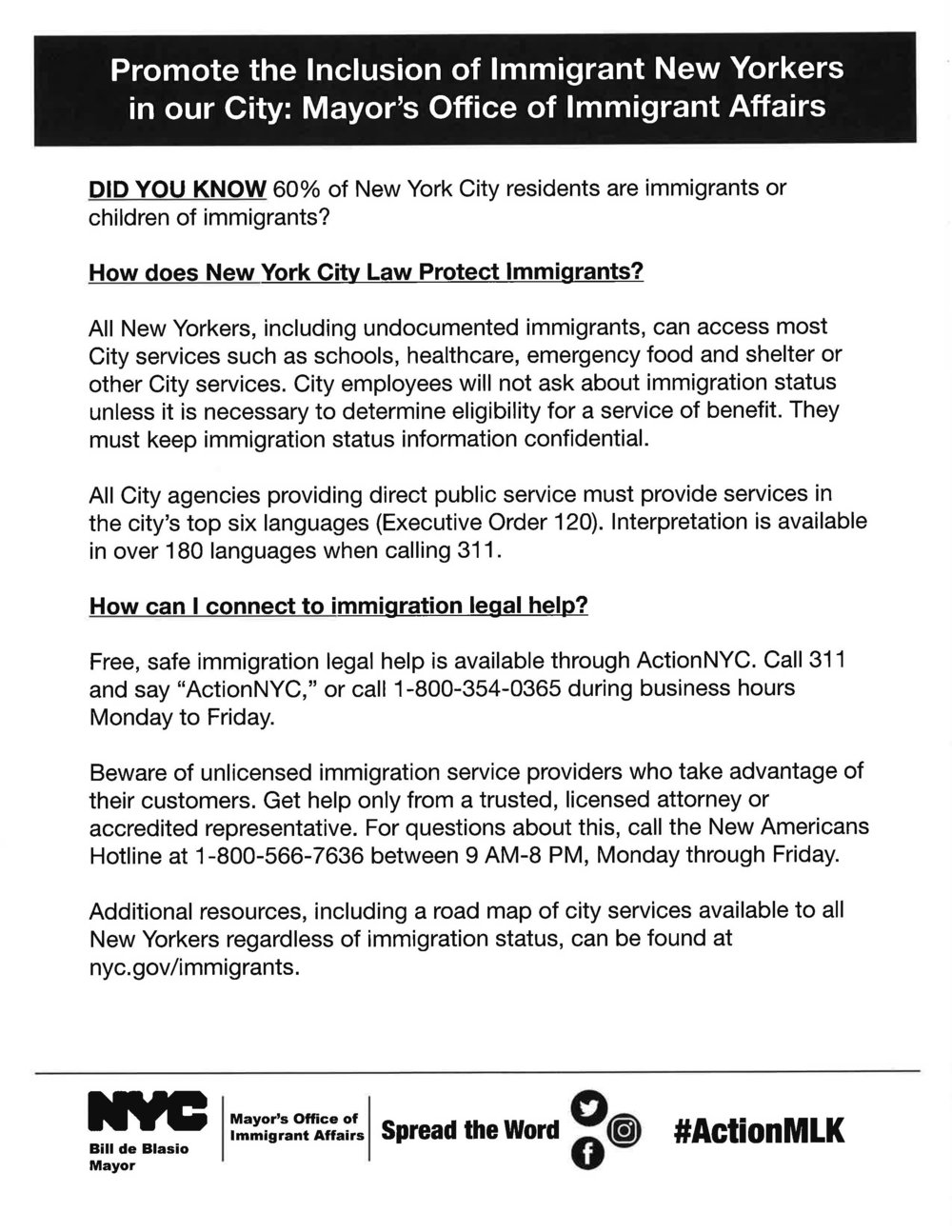 Promote the Inclusion of Immigrant New Yorkers in our City: Major's Office of Immigrant Affairs
