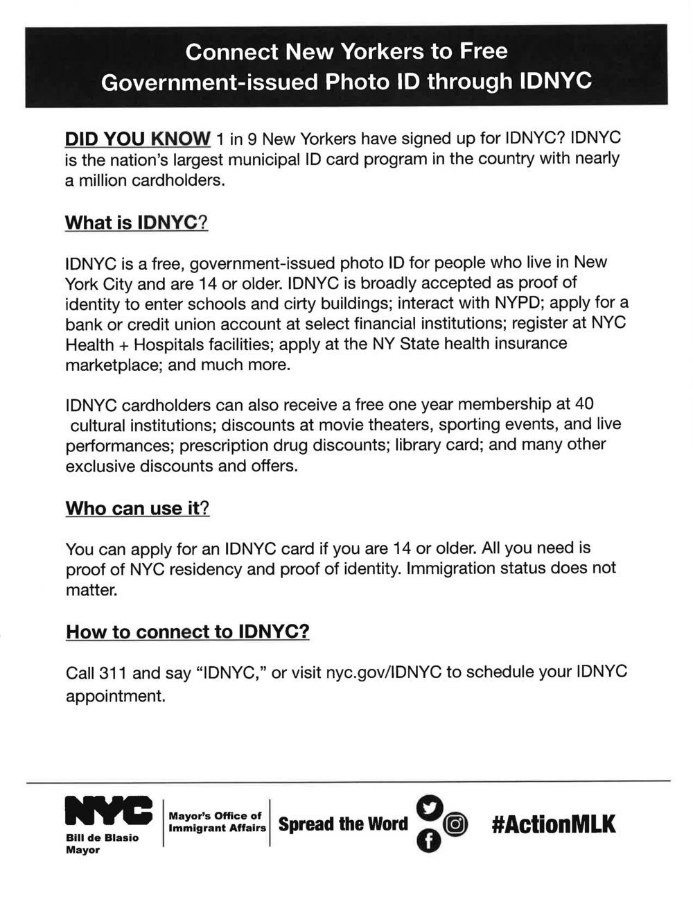 Connect New Yorkers to Free Government-issued Photo ID through IDNYC