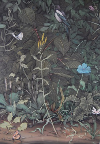 "Eunuch Tapestry 5  (detail), 2014, pastel on black paper, 84"" x 288"" (213.4 x 731.5cm) [ images provided and owned by Paul Petro Gallery ]"