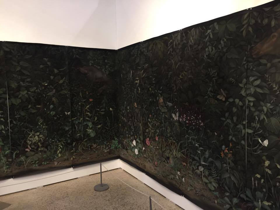 "Eunuch Tapestry 5  (installation shot), 2015, chalk, pastel on black paper (8 sheets) 84"" x 288"" (213.4 x 731.5cm)"