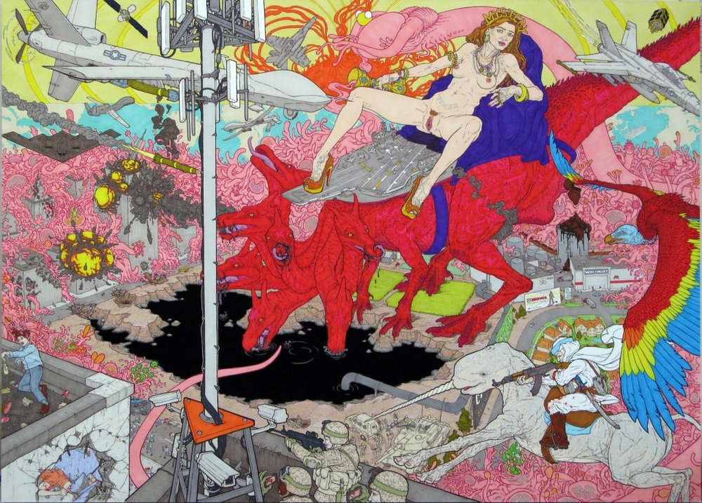 "Worldview Warfare (Samantha Power as the Whore of Babylon),  2012, ink on board, 24"" x 33"" (61 x 83.8cm)"