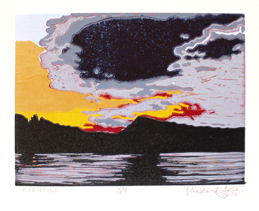 "Eventide,  2017, original signed reduction linocut, 6"" x 8"", ed. of 9, (Photo courtesy Mira Godard Gallery © 2017 Mira Godard Gallery)"