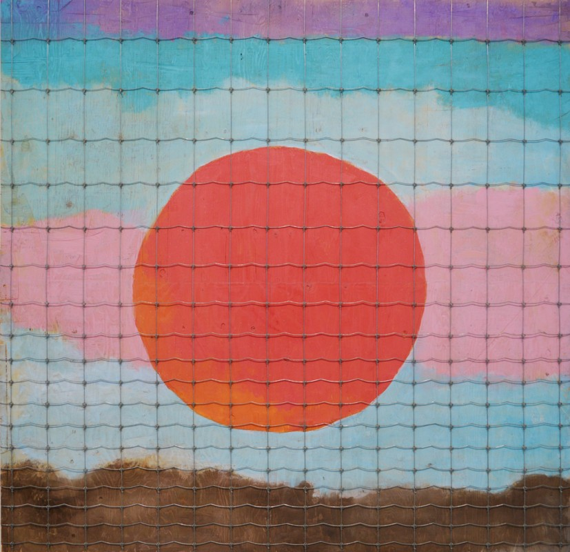 Paterson Ewen, Caged Sunset, 1997, fencing and acrylic paint on plywood, 96 x 93 in. ((Photo courtesy Olga Korper Gallery © 2017 Olga Korper Gallery)