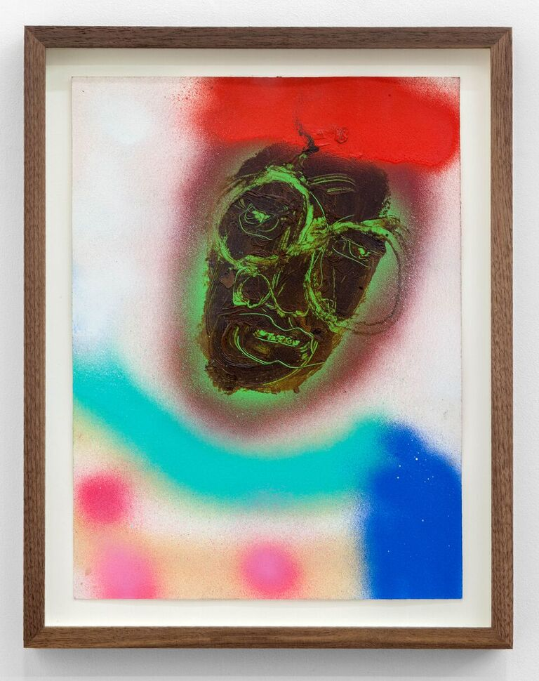 Curtis Santiago,  Untitled , 2017, spray paint, oil and charcoal on paper, 14.3 x 11.2 in. (Photo courtesy Cooper Cole Gallery © 2017 Cooper Cole Gallery)