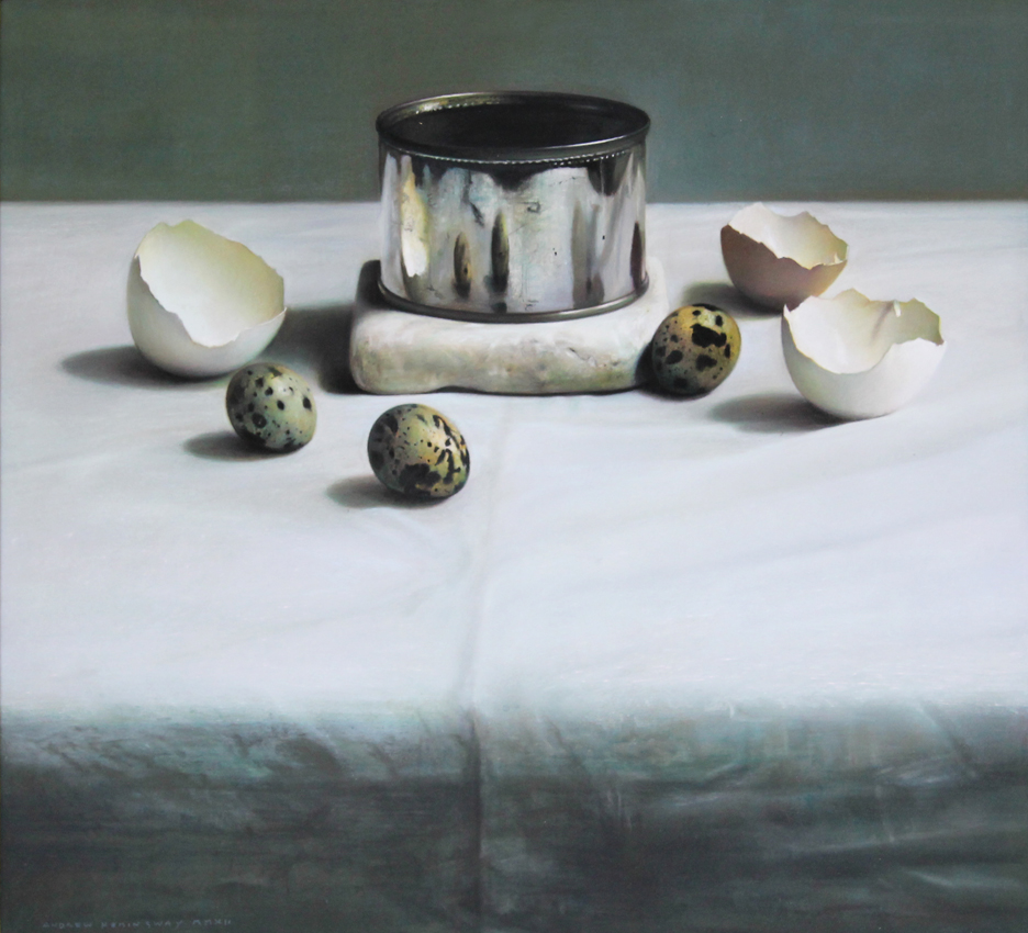 "Still Life: Arrangement with Tin and Eggs on Damask  ,  2012, pastel on board, 14 1/2""  x 15 3/4""  (Photo courtesy Mira Godard Gallery © 2017 Mira Godard Gallery)"
