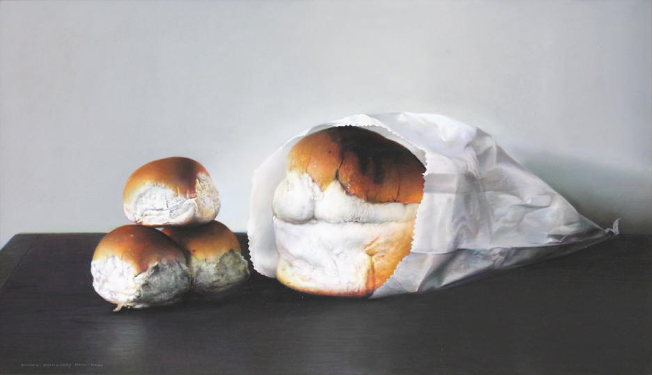 "Still Life: Bread and Bread Rolls, 2013-15, pastel on board, 15 3/8 x 26 3/8""  (Photo courtesy Mira Godard Gallery © 2017 Mira Godard Gallery)"
