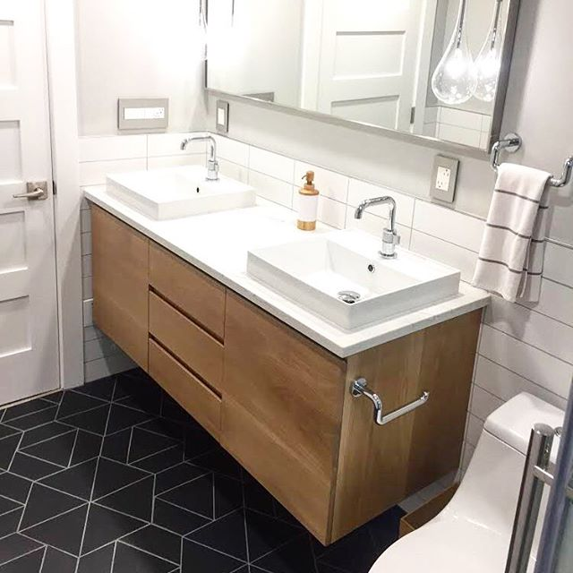 Custom white oak double vanity to complete our Highland client's bathroom remodel! #houseofalpine