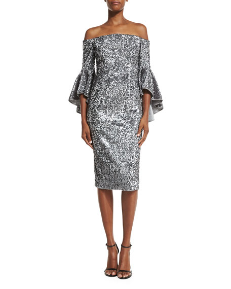 MILLY Off-the-Shoulder Sequined Cocktail Dress, Gunmetal at NIEMANMARCUS,com $675