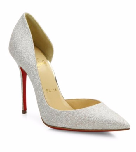 Iriza Half D'Orsay Mini Glitter Pumps by Christian Louboutin, Saksfifthavenue.com $695