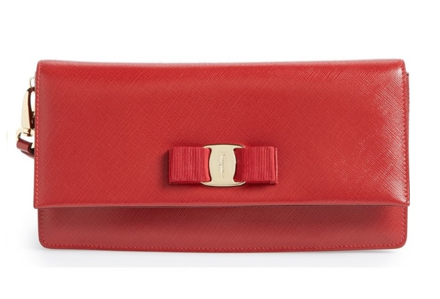 Rosso 'Camy' Saffiano Leather Flap Clutch by Salvatore Ferragamo  Nordstrom.com$950