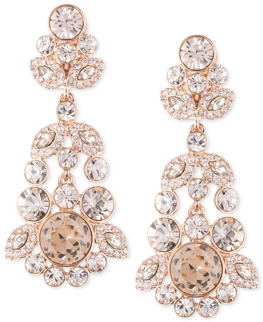 Pink Ornate Crystal Chandelier Earrings by Givenchy, Macys.com $125