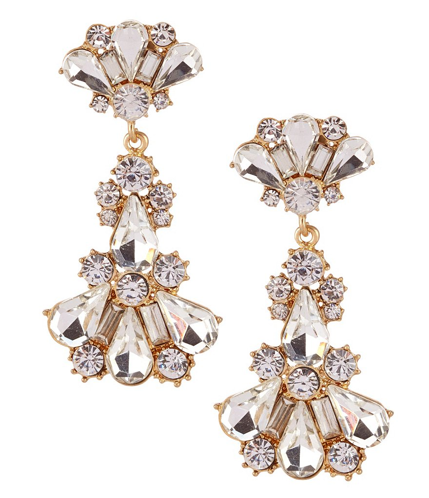 Gold/Crystal Venice Chandelier Statement Earrings by Belle Badglley Mischka $28