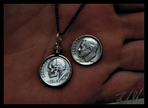 Dime Skull Necklace