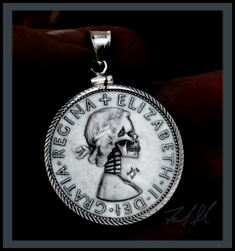 Half Crown Coin Carving in Bezel