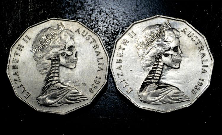 Queen Elizabeth II coin carving