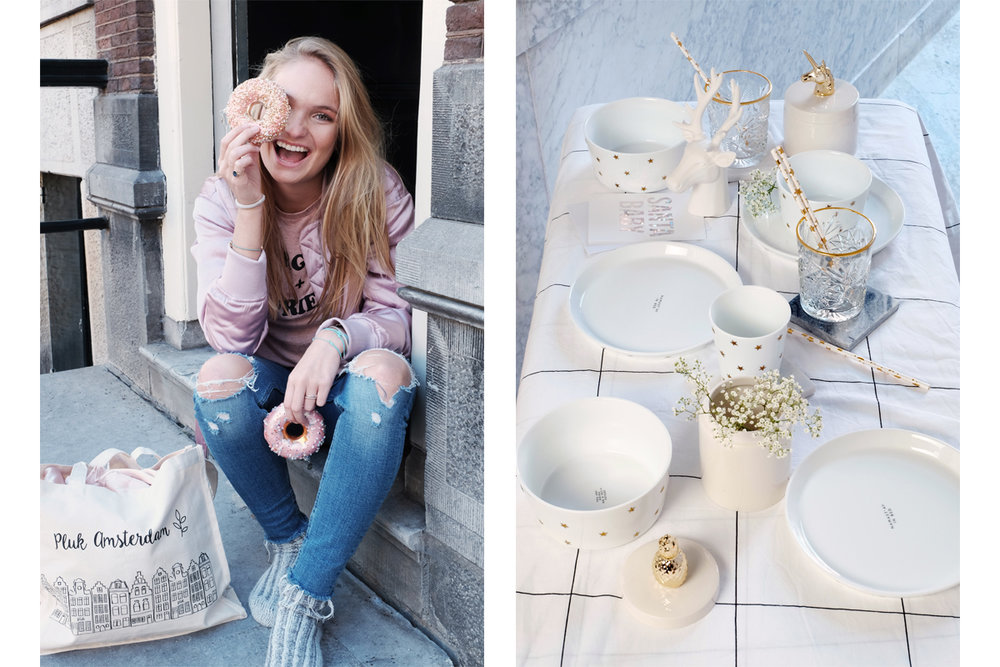Left: Christmast donut  €  13,95  & Pluk canvas bag  € 8 ,95                               Right: Pineapple and unicornbowl  €  18,95& Tableware: Fabienne Chapot