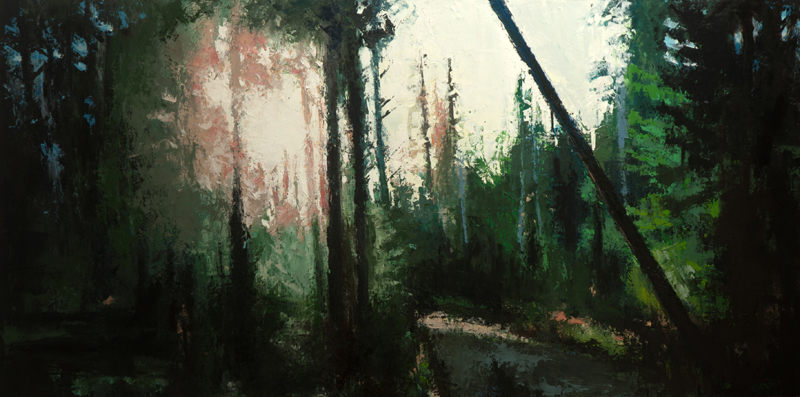 clear lake trail 2 - 24x48 inches - oil on wood board - 2014
