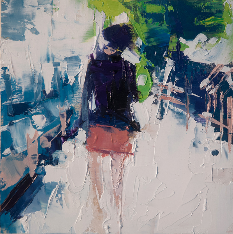 woman walking down st. andre - 6x6 inches - oil on wood board - 2015