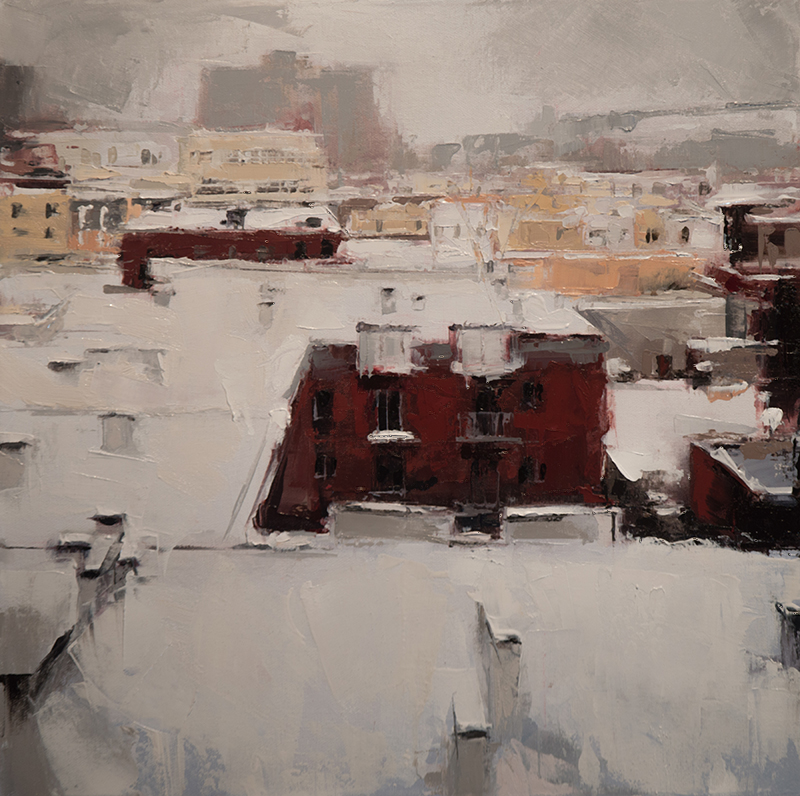 winter rooftops - 16x16 inches - oil on canvas - 2016