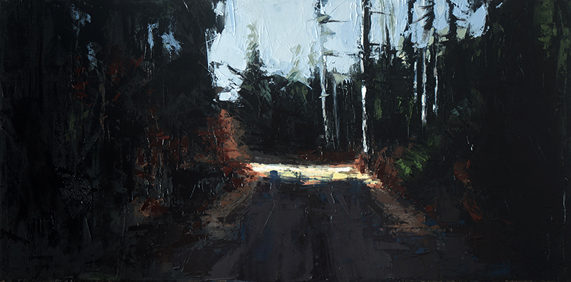 bend in the trail - 15x30 inches - oil on canvas - 2016
