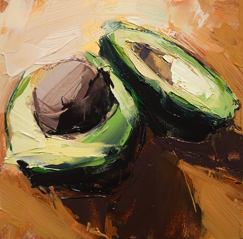 lufa avocados - 6x6 inches - oil on wood board - 2016