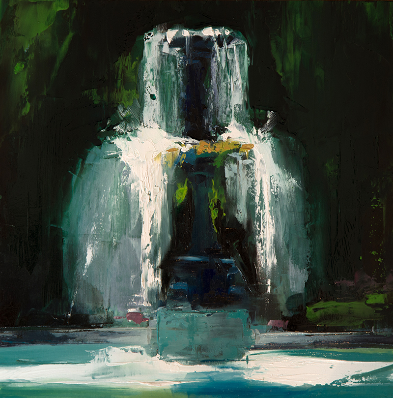 parc fountain - 10x10 inches - oil on wood board - 2016