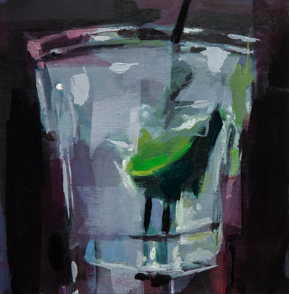 courcilles gin and tonic - 10x10 inches - oil on board - 2018