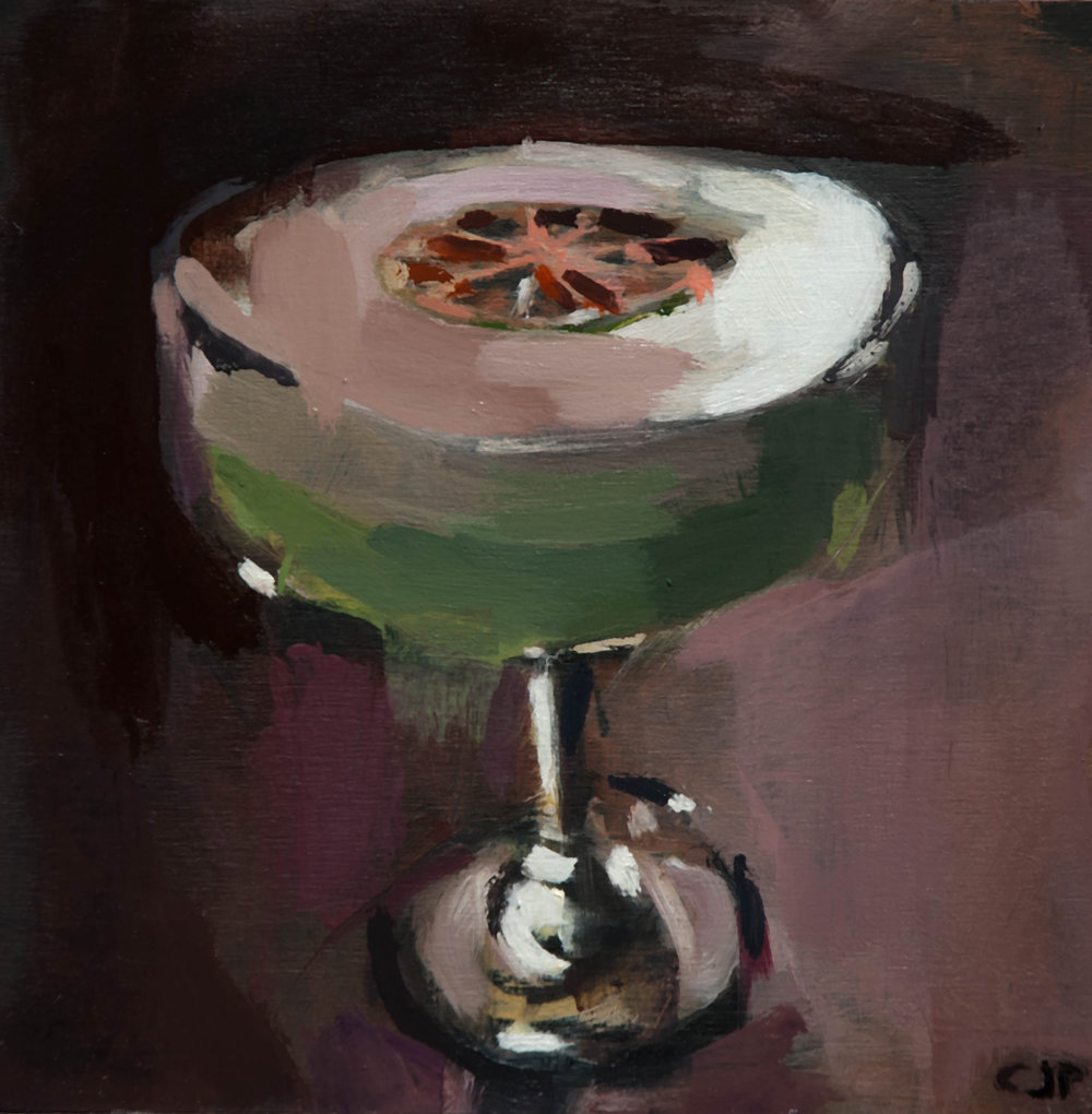 mayfair green velvet - 10x10 inches - oil on board - 2018
