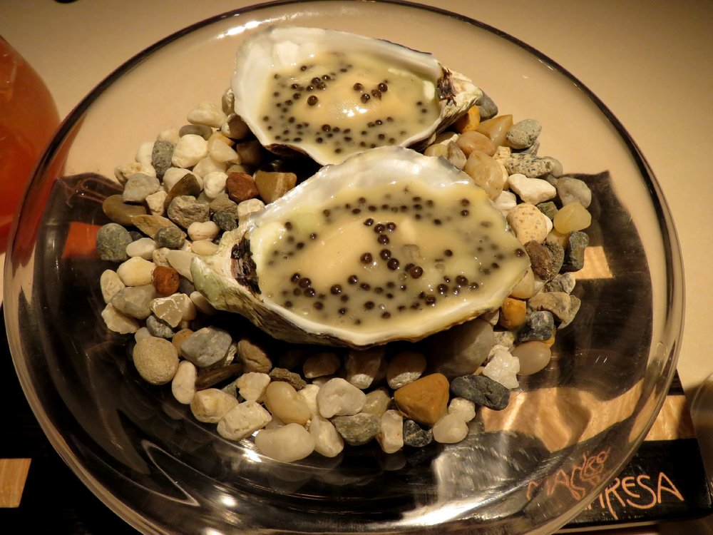 Oyster, apple and caviar