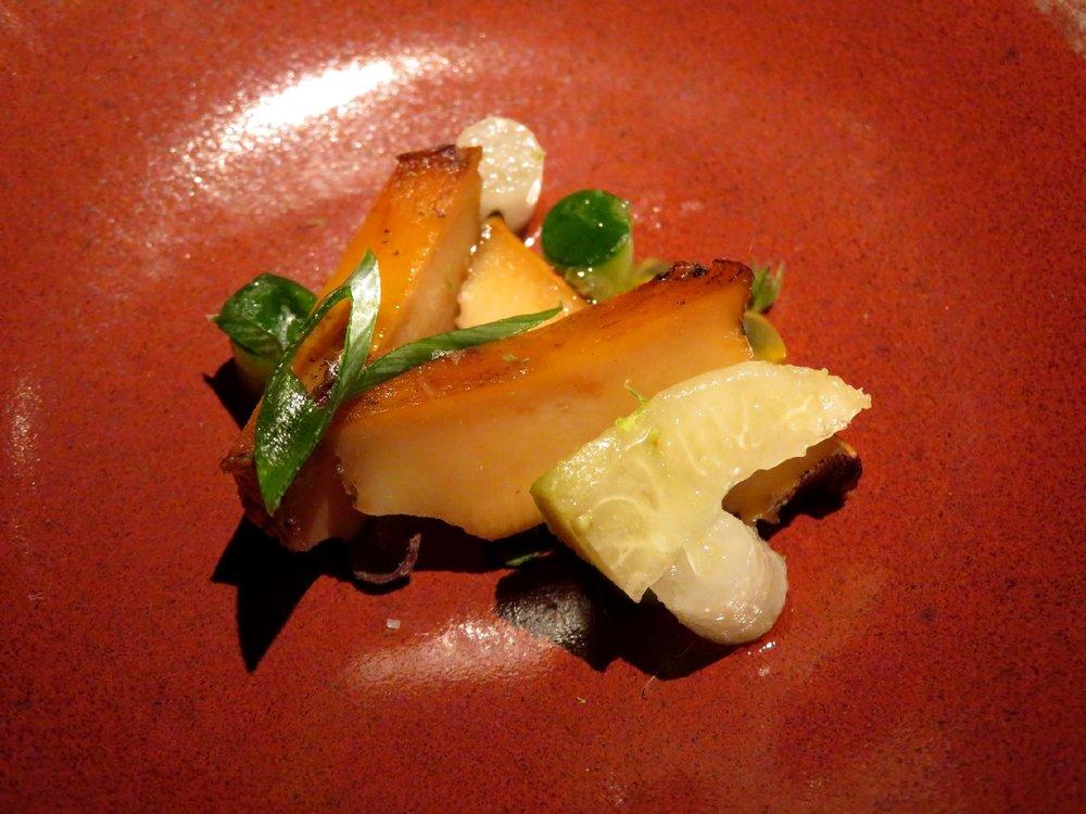 Glazed abalone and exotic fruit