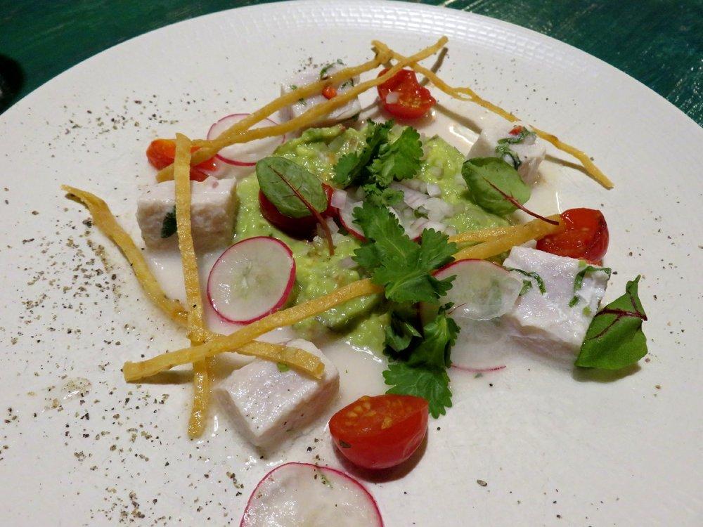 White Marlin ceviche, tomato, puréed avocado, crispy corn chips