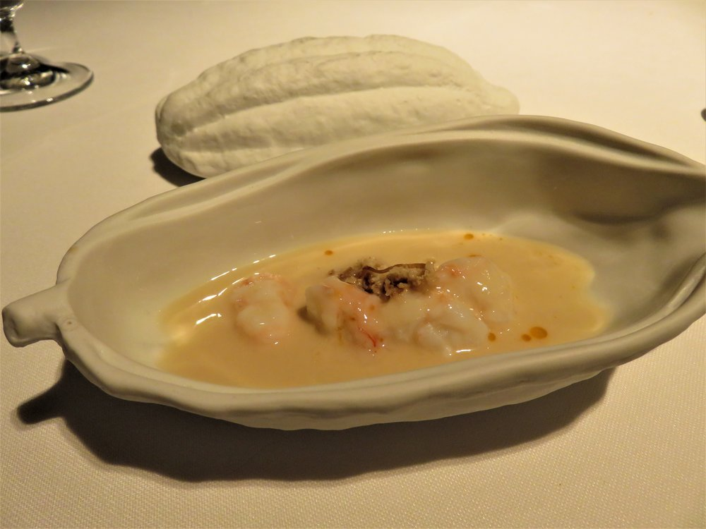 Langoustine with cocoa bean sauce
