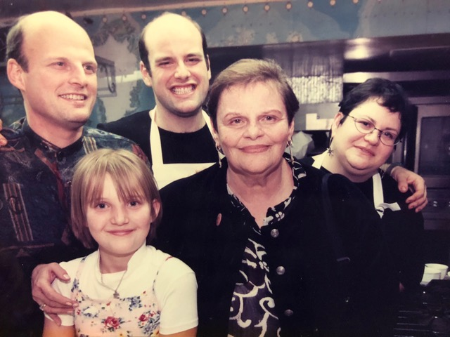The Davis family in the kitchen of the James Beard Foundation in 1996 for the first annual James Beard Foundation Latke Cook-off. (from left to right: brother Sheldon, niece Helen, Mitchell, Mom Sondra, and sister Carrie (not present, sister Leslie).