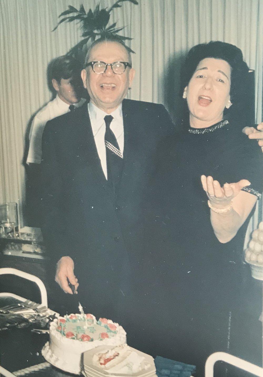 Evelyn & Saul Reinfeld celebrating their 40th wedding anniversary, 1968.