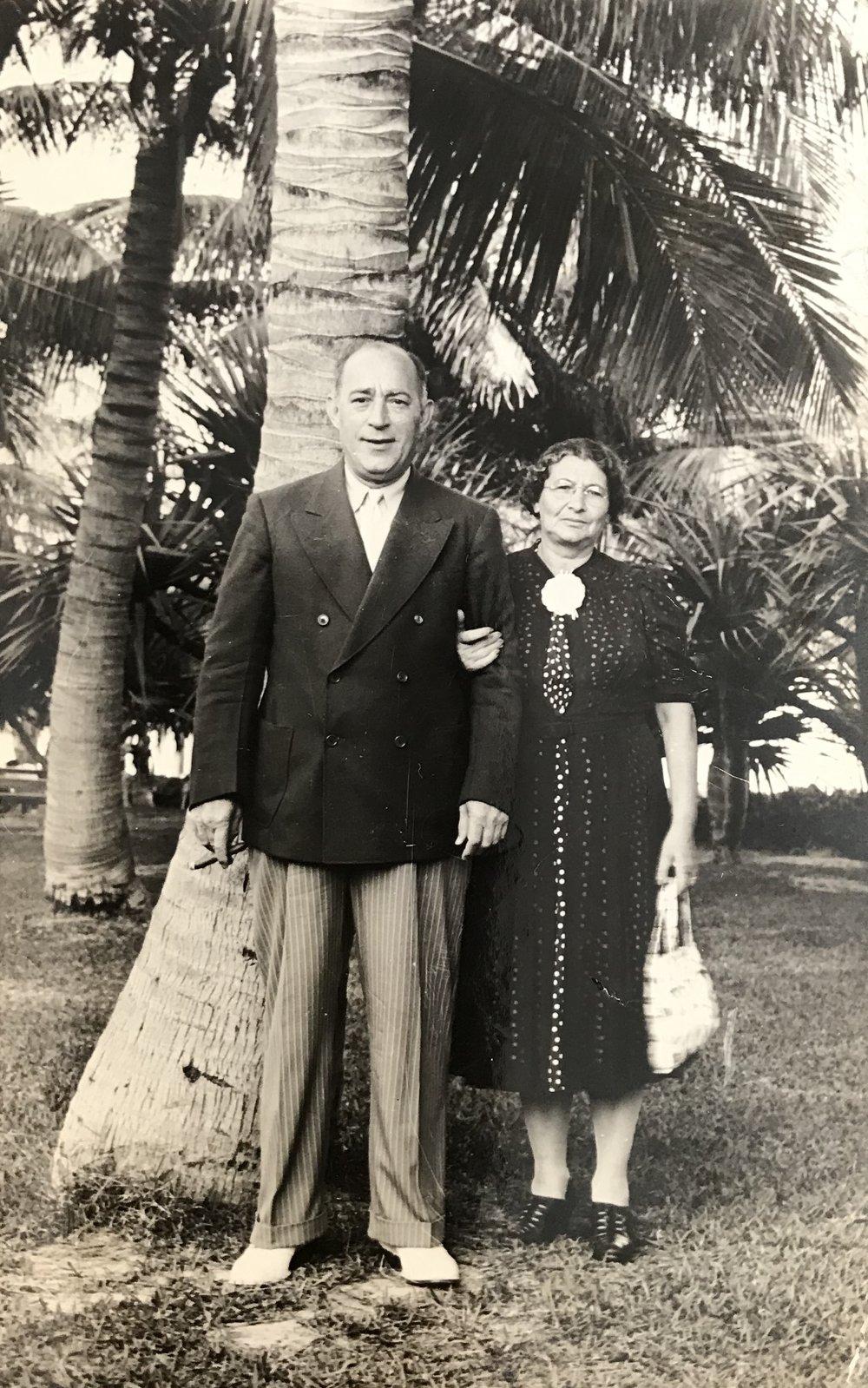 Nettie and Phillip Silverman, Miami Beach, early 1940's.