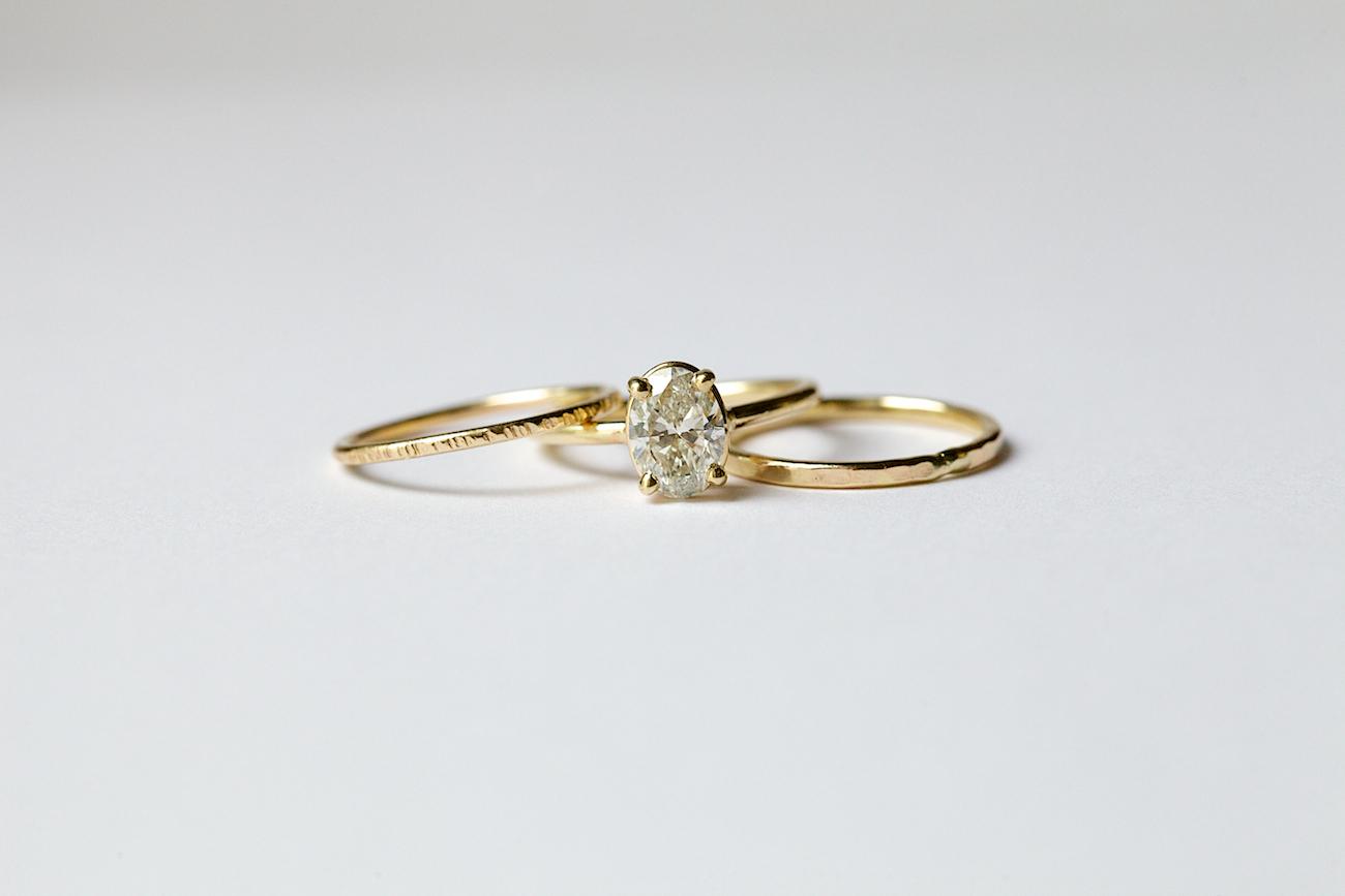 Excellent Sarina | Oval Diamond Thin Band Engagement Ring Stacking Set 14k  WA16