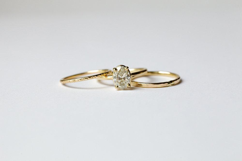 Sarina oval diamond thin band engagement ring stacking set 14k sarina oval diamond thin band engagement ring stacking set 14k hammered gold junglespirit Choice Image