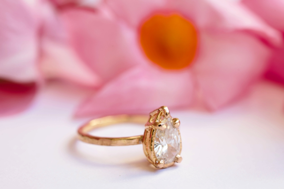 Cleopatra | Pear Diamond 14k Rose Gold Hammered Halo Engagement ...
