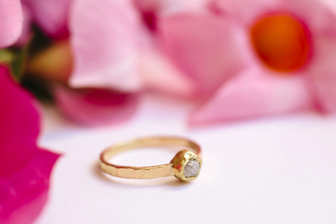 Izzy | Raw Diamond Engagement Ring Rustic 14k Hammered Gold ...